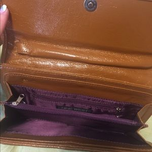 Nine West faux brown leather wristlet clutch